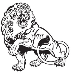 lion tattoo black white vector image