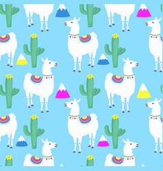 llama cacti cactus mountains funny alpaca vector image