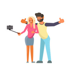 lover couple making a selfie vector image