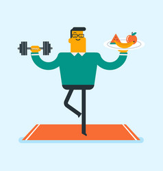 Man meditating with fruit and dumbbell in hands vector