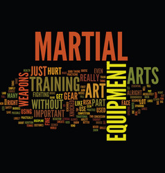 martial art equipment text background word cloud vector image