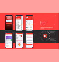 Mobile banking template for mobile app vector