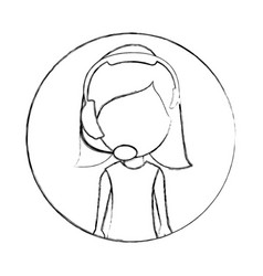 Monochrome sketch of circular frame with woman vector