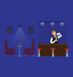 Night club bartender in empty hall with drink vector