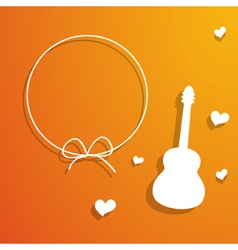 Orange card with a frame and guitar vector