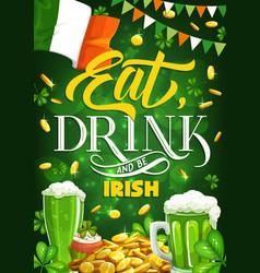 Patricks day shamrock irish holiday beer gold vector