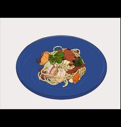 pepperoni spaghetti hand drawn sketch vector image