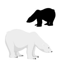 polar bear cartoon character isolated silhouette vector image