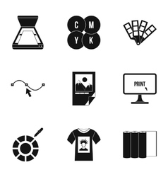 Printing icons set simple style vector image