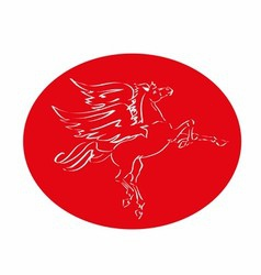 Red horse with wings logo fly vector image