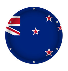 round metallic flag of new zealand with screws vector image