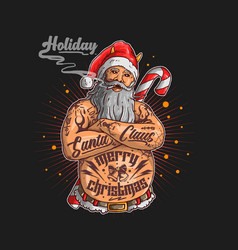 santa claus with tattoo graphi vector image
