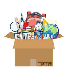 school items in cardboard box vector image