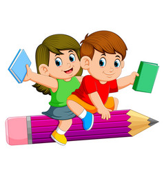 School kids riding a pencil vector