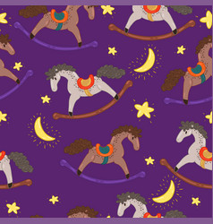 seamless pattern with rocking horses and stars vector image