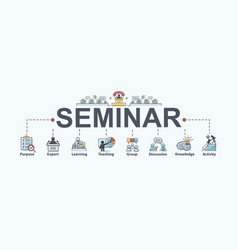 Seminar banner web icon for business and training vector