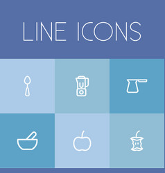 Set of 6 editable cooking outline icons includes vector
