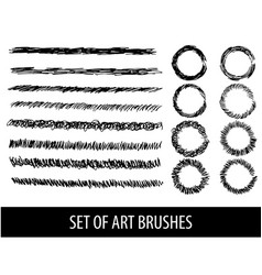 set of eight brushes for drawing vector image