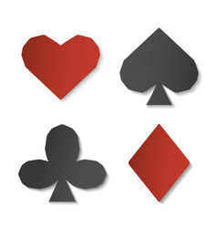 set of playing card sign symbols paper art of vector image