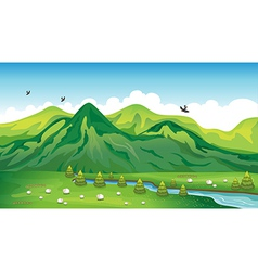 Sheeps birds and a beautiful landscape vector image