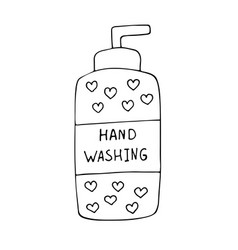 soap bottle with hand vector image