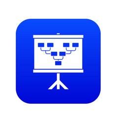 Soccer or football field scheme icon digital blue vector
