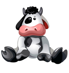 Soft plush toy sitting spotted cow isolated vector