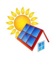 solar panels and sun vector image
