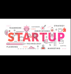 startup word abstract thin line vector image