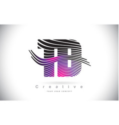 Td t d zebra texture letter logo design with vector