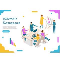 Teamwork and partnership concept landing web page vector