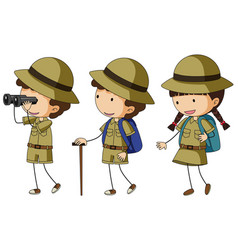 Three kids in scout uniform vector