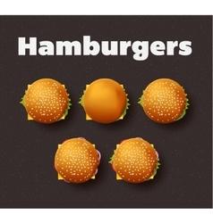 Top view of hamburgers realistic vector