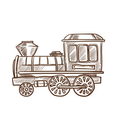 Train retro toy sketch hand drawn isolated vector