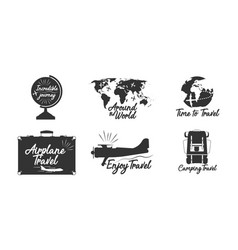 Travel lettering label adventure design vacation vector