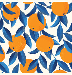 Tropical seamless pattern with oranges fruit vector