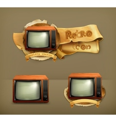 TV set retro icon vector image vector image