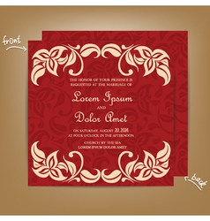 Wedding invitation with red bakground vector