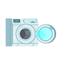 white empty clean modern opened washing machine vector image