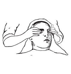 Woman receiving eyes massage vintage engraving vector
