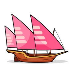 Xebec boat cartoon vector