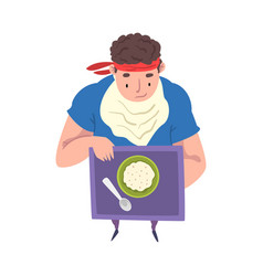 young overweight man eating healthy food weight vector image