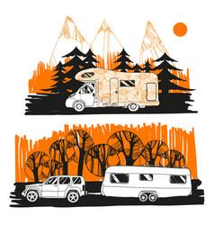 autumn landscape with camper van vector image