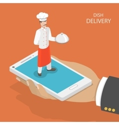 Dish fast delivery flat isometric concept vector image