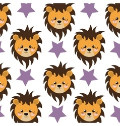 Lion and stars background vector