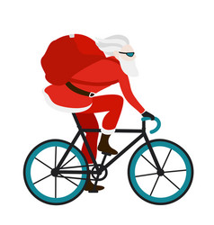 santa bicycle delivery messenger red with gifts vector image