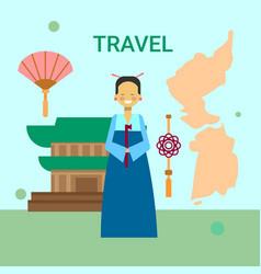 woman in traditional korean clothes over korea map vector image