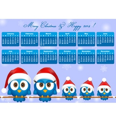 2014 calendar with funny blue birds family vector image vector image