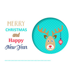 funny christmas card with reindeer vector image