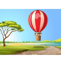 Kids in a air balloon vector image vector image